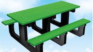 ¿Sabías que… se fabrican mesas de picnic de caucho reciclado procedente de NFU?