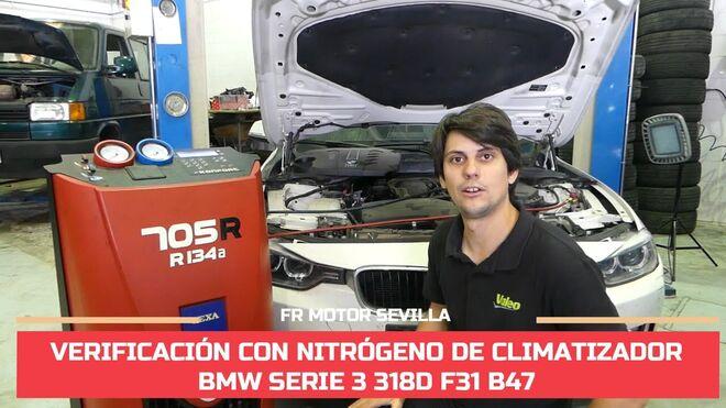 Cómo verificar con nitrógeno una fuga de aire acondicionado en un BMW 318D F31