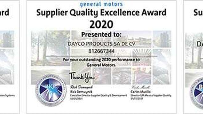 Tres instalaciones de Dayco, premio General Motors a la excelencia en calidad 2020