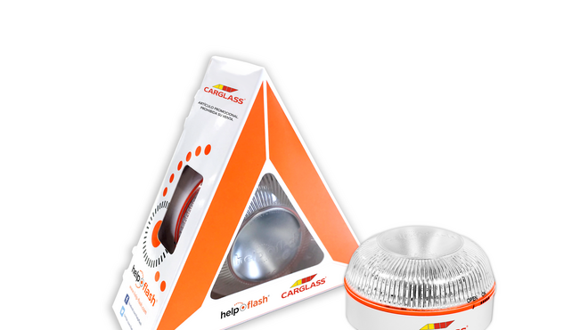 Carglass regala la luz de emergencia Help Flash en cada sustitución o reparación de parabrisas