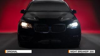 Gran luminosidad: a la derecha la Night Breaker 200 comparada con la versión halógena convencional en la izquierda