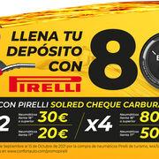 Confortauto regala hasta 80 euros en carburante por la compra de neumáticos Pirelli